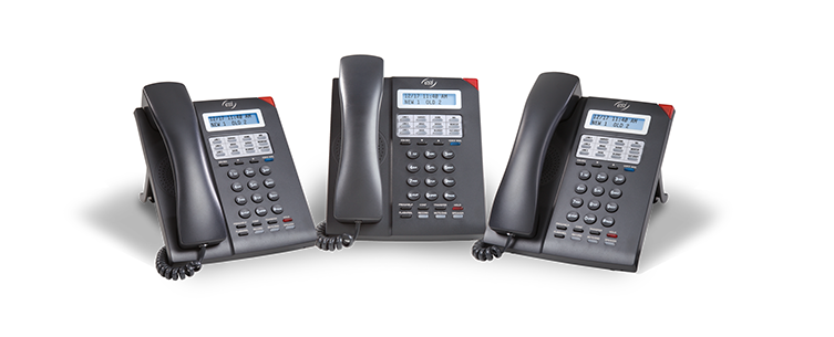 ESI 30D Business Phones with cast shadows from three angles.