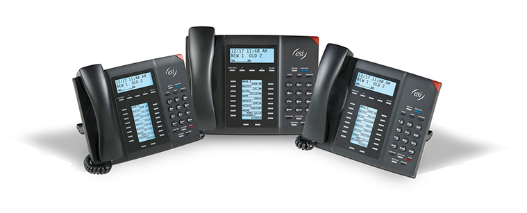 ESI 60 Business Phones with cast shadows from three angles.